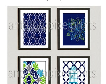 Turquoise Navy Chartreuse Grey Damask Art Print  - Set of Any (4) 11 x 14 Unframed Art Print, Custom Colors Sizes Available #237987730