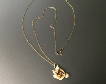Rose Necklace - Vintage Gold Filled Textured Rose Petals and Polished Leaves - Signed R Inc 14KT GF