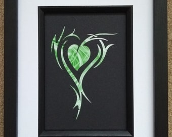 """5"""" x 7"""" Framed Tribal Heart Tattoo Style Abstract Silhouette"""