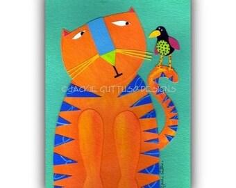 "Whimsical cat art print, Giclee 5 x 7"", Cat lover gift under 20, Orange cat print, Acrylic animal painting print, Funny cat, Whimsical bird"