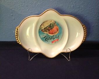 Vintage Fire King Milk Glass 3-Part Relish, with 22 Karat Trim and Original Sticker