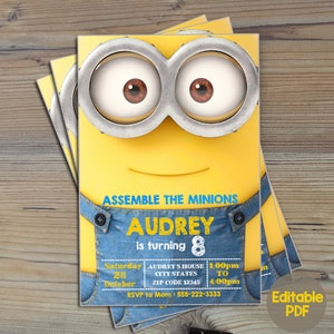 Minion invitation etsy instant download minions invitationminion birthday invitationminions birthdayminions party filmwisefo Image collections