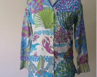 Ship n Shore top, XS, S, M, psychedelic top, designer top, vintage 70s, 70s top, 60s top, vintage 60s, mod top, mod blouse