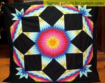 Unique Gift, Traditional Amish quilts, Art quilt, Lone Star Quilt, Amish Pattern, Broken Star Quilts,  Hand Stitched, black quilt, rose, red
