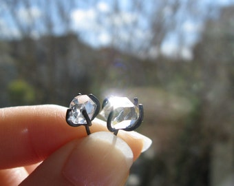 Herkimer Diamond Earrings in Silver - Oxidized Argentium