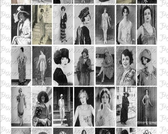 1920's Women Digital Download Collage Sheet 1 x 2 inch