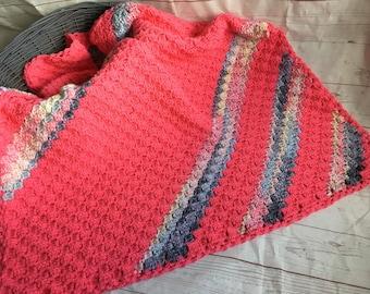 pink baby blanket - pink crocheted blanket -  baby afghan - nursery decor - corner to corner blanket