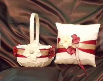 flower girl basket and ring bearer pillow white or ivory color satin with flowers