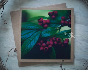 Floral Photo Card - Red berries