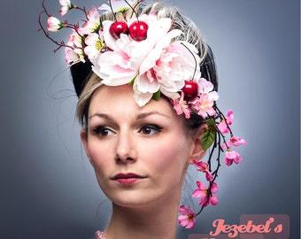Pink Cherry Blossom Floral Fascinator Ascot Rococo Hatinator Red Cherries Derby Head piece Hand Made Carnevale Headdress Garden Tea Party