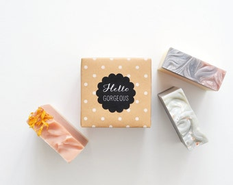 Say It With Soap Gift Set - Hello Gorgeous, You are Loved, Nice to Smell You, Thinking of You - 3 Soaps with a sweet message