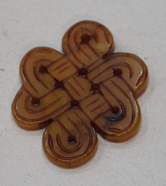 Beads Chinese Serpentine Brown Knot Pendants Vintage 43mm