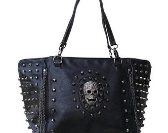 Gothic rivets handbag skull chains