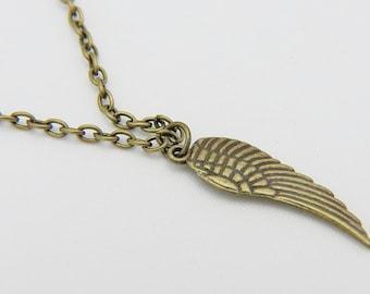 Guardian Angel Necklace, Guardian Angel Charm, Guardian Angel Jewelry, Angel Wing Necklace, Wing Charm, Feather Charm, Bird Feather Charm