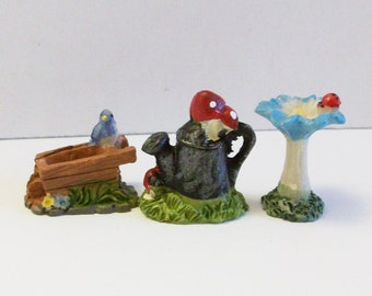 Miniature flower, watering can and wheel barrel: Fairy garden or terrariums mini figurines