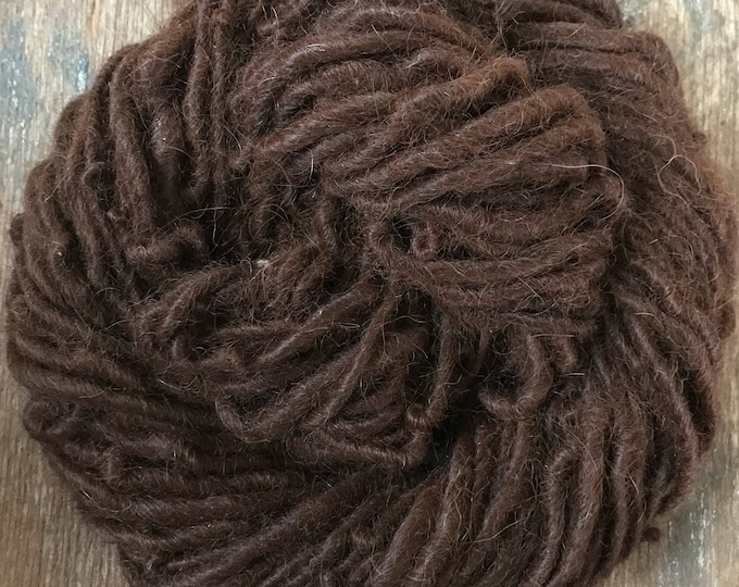 Natural dark auburn alpaca handspun yarn, undyed handspun yarn, 50 yards, super soft single ply yarn, great for weaving, knitting, doll hair