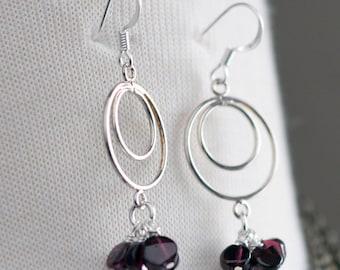 January Birthstone Garnet Earrings, Red Earrings, Silver Earrings, Gemstone Jewelry, Geometric Earrings, Bohemian Pyrope Garnets, SRAJD