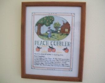 Cross stitch sampler, Peach Cobbler recipe