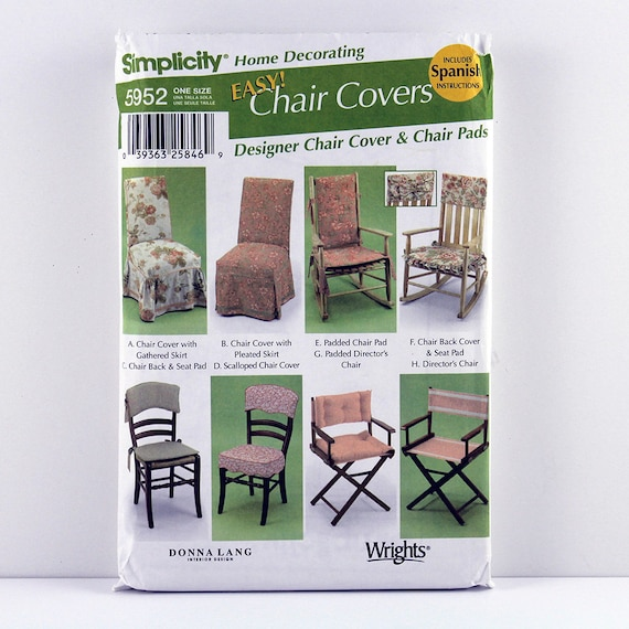 Simplicity 5952 Chair Cover Pattern, Chair Seat Pads Pattern, Easy Home  Decorating Patterns, Designer Chair Or Seat Cushion Pattern From  Craftoramacottage ...