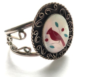"""Zuni Sterling Silver Cardinal Bird Cuff Bracelet with Inlay Mother of Pearl, Red Coral and Turquoise 6.5"""""""