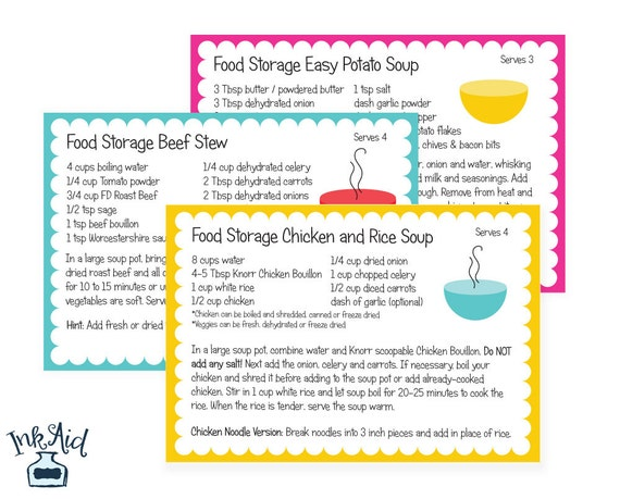 SOUP RECIPES   Food Storage Cook Book 4x6 Recipe Cards   Printable Digital Download PDF   3 Month Supply Prepper Preparedness from InkAid on Etsy Studio  sc 1 st  Etsy & SOUP RECIPES   Food Storage Cook Book 4x6 Recipe Cards   Printable ...
