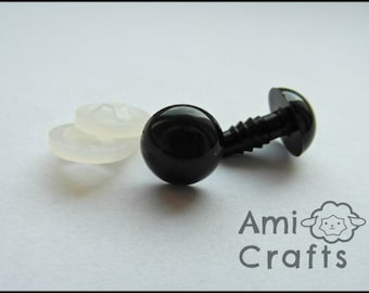 10 pairs - big safety eyes with backs/washers - 5 sizes to choose: 10mm to 16mm - toys, amigurumi, sewing, crochet, knitting