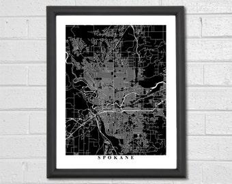 Spokane Map Art - Map Print - Black and White Print - Washington - Personalized - Travel Gift - Housewarming Birthday Engagement