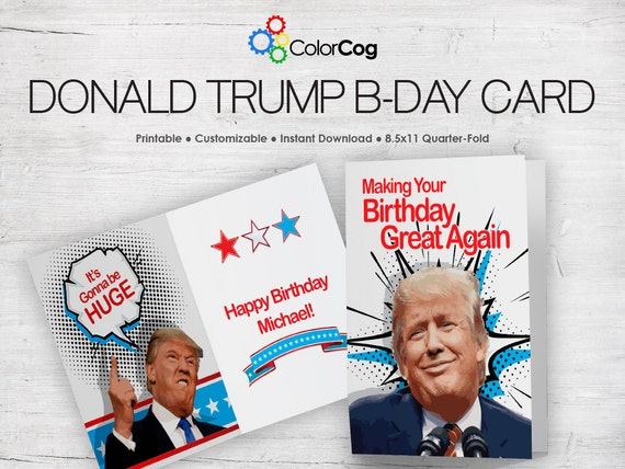 image regarding Donald Trump Birthday Card Printable called Birthday Card Versus Trump: Content Birthday Donald Trump