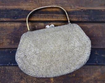 50s Glass Bead Handbag, Vintage 1950s/60s Silver Beaded Kisslock Frame Purse, Mother of Pearl Detail, Silvertone Metal Handle