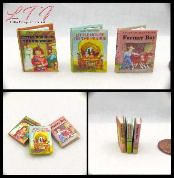 LITTLE HOUSE On The PRAIRIE Set Dollhouse Miniature Books 1:12 Scale Illustrated Readable Books Laura Ingalls Wilder Children's Books