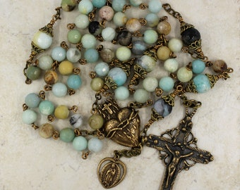 Natural Amazonite Sacred Heart Rosary with Bronze