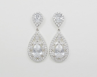 Bridal Earrings, Cubic Zirconia Crystals, Drop Stud Earrings, Shelby- Ships in 1-3 Days