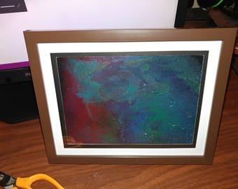 Framed abstract spray paint on canvas