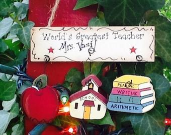 Teacher ornament, christmas teacher ornament, best teacher ornament, teacher gift ornaments, school ornament, school  door sign,