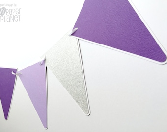 Purple and Silver Party Bunting Triangle pennant banner. Baby shower, birthday party, photo prop, baby girl, first birthday. Lavender purple