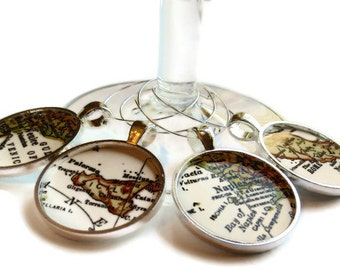Italian Wine Charms, Italy Map Wine Charm set, Sicily, Rome, Venice, Naples set of 4 map charms, Gift Ideas for Her, Housewarming Gift