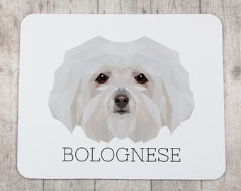 A computer mouse pad with a Bolognese dog. A new collection with the geometric dog