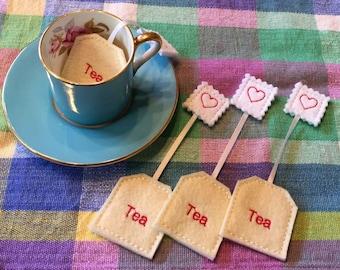 Felt Play Food Tea Bags Tea Party Set of 4