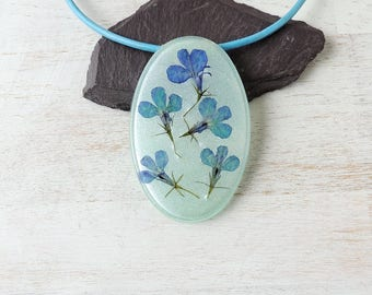 Blue Flower Necklace, Leather Necklace, SALE, Real Flower Resin Pendant, Statement Necklace, Resin Jewellery, Flower Jewellery, UK Seller
