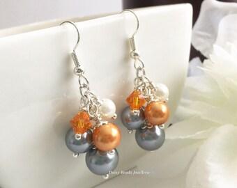Grey and Orange Earrings Bridesmaid Earrings Grey Earrings Orange Earrings Dangle Earrings Wedding Earrings Bridal Gift for Her