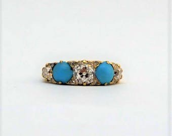 Victorian Diamond and Turquoise Five Stone Ring.