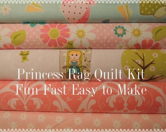 Princess, Dream and a Wish Fabric, Easy Rag Quilt Kit,  Easy to Make, Personalized, Bin D, Optional Sewing Available