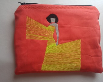 Embroidered Zipper Pouch-  Fashion Art Girl