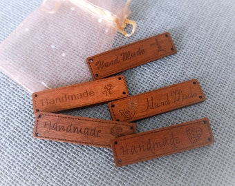 pack of 10 wooden 'handmade' Tags/Lables