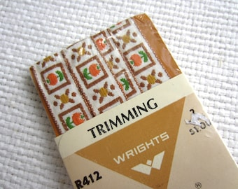 Vintage Retro Woven Trimming Orange Flowers Golden Brown