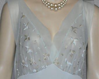 Vintage Vanity Fair Goddess Nylon Chiffon Nightie Nightgown 40 Blue Sheer Medium