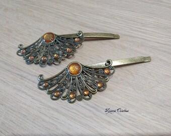 Glittery orange hair, bronze hair clip, barrette hair accessory range, handmade