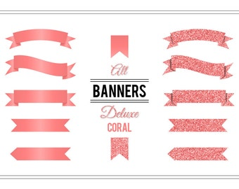 Banner Clip Art 'Deluxe Coral' Glitter Digital Banners for Wedding Invitations, Cards, Scrapbooking, Printable Art, Crafts, Collages...
