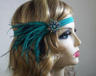 Green 1920s headband, Flapper headpiece, Gatsby headband, 1920s headpiece, 1920s hair accessory, Vintage inspired, 1920s Event