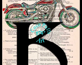 Letter K with a Motorcycle Art - Vintage Dictionary Book Page Art Upcycled Page Art Dictionary Print